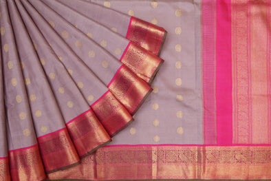 Light Lavender Kanchipuram Silk Handloom Saree With Chakras
