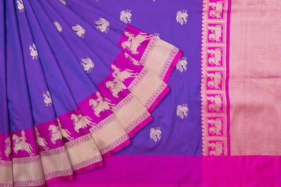 Purple Banarasi Silk Handloom saree With Peacock Motifs