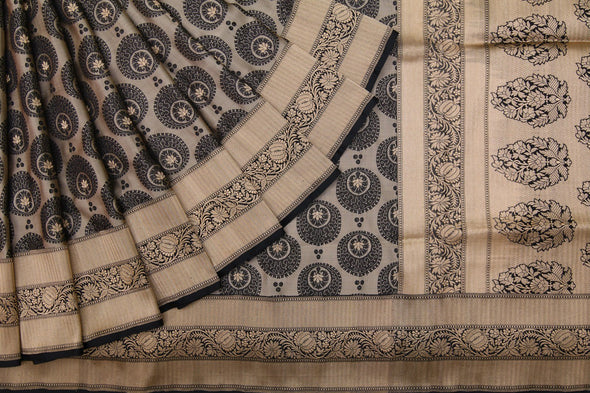 Cream Banarasi Silk Handloom Saree With Stylised Chandbali Motifs