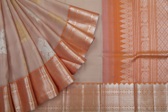 Ivory Cream Kanchipuram Silk Handloom Saree With Horse Motifs