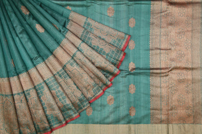 Light Pine Green Banarasi Tussar Handloom Saree with gold floral buttas