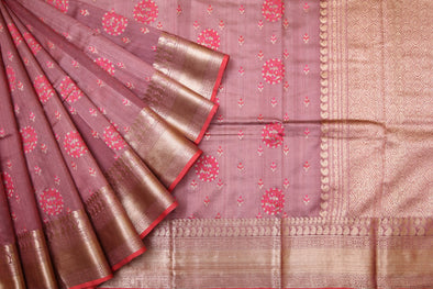 Dark Dusky Pink Banarasi Tussar Handloom Saree with Floral Buttas