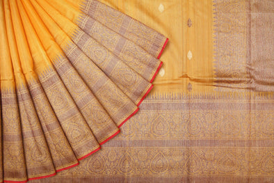 Medallion Yellow Tussar Handloom Saree.