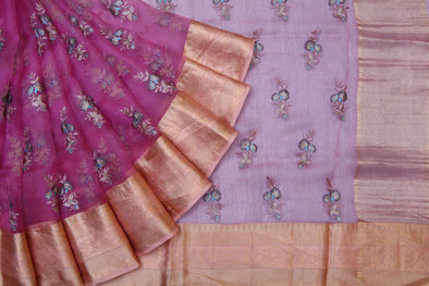 Berry Pink Organza Embroidered Saree