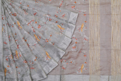 Silver Tissue Embroidered Saree with Birds
