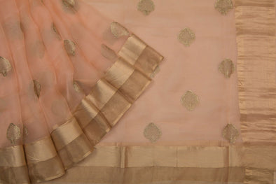 Light peach Organza Embroidery Designer Saree