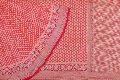 Red Banarasi Georgette Saree with Zari Buttas