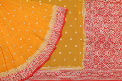 Yellow and Red Banarasi Georgette Saree