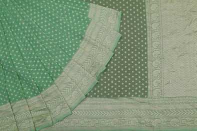 Green Banarasi Georgette Saree with Flower Buttas