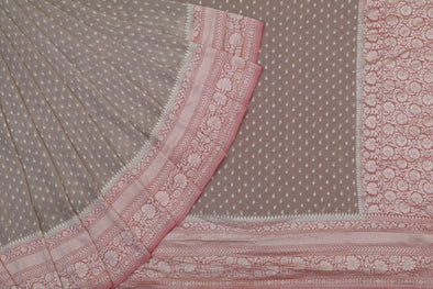 Brown and Peach Banarasi Georgette Saree