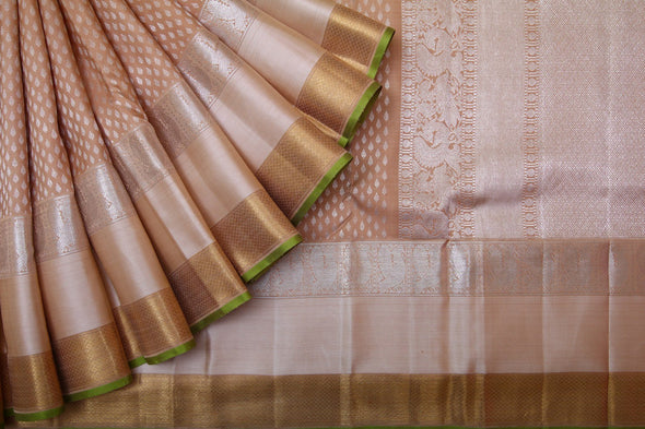 Light Brown Kanchipuram Silk Handloom Saree With Leaf Motifs