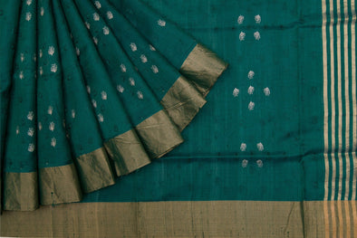 Emerald Green Raw Silk Handloom Saree With Floral Buttas