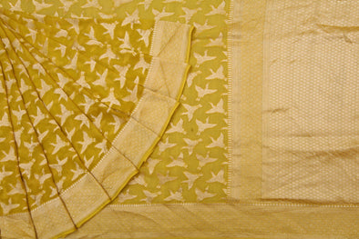 Tuscan Sunny Yellow Banaras Georgette Saree With Fluttering Flamingo Buttas.