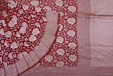 Garnet Red Banarasi Georgette Saree With Rose Jaal.