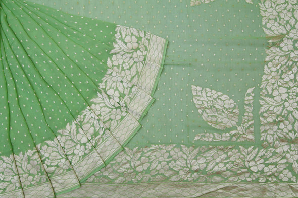 Pastoral Green Banarasi Saree With Delicate Butta.