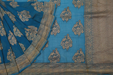 Peacock Blue Banarasi Georgette Handloom Saree