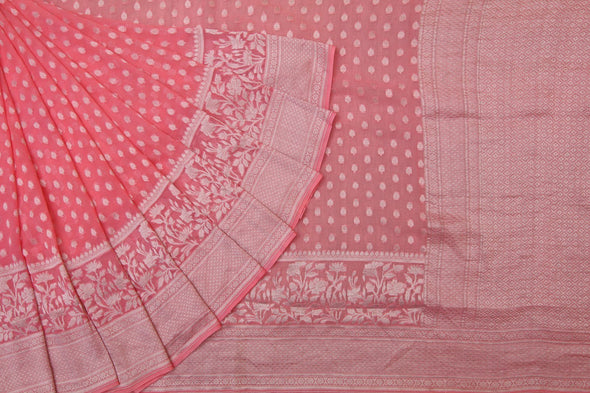 Bubble-Gum Pink Georgette Banarasi Saree With Minimal Floral Butta.