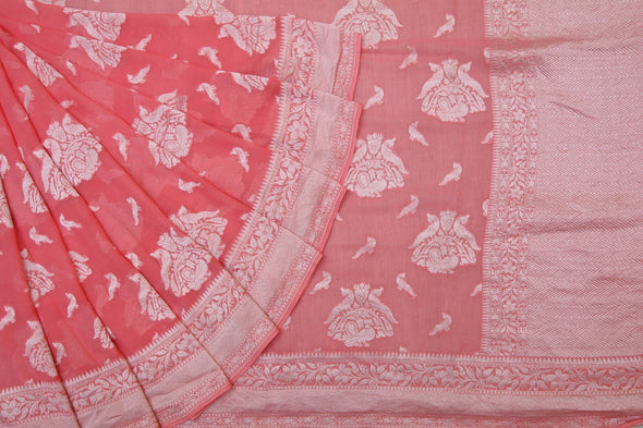 Crepe Pink Banarasi Georgette Saree With Eleborate Peacock Motifs.