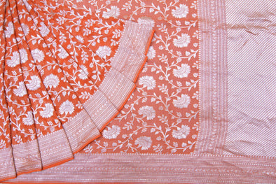 Amber Orange Banarasi Georgette Saree With Floral Jaal.