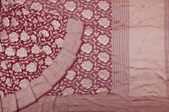 Amythyst Purple Georgette Banarasi Saree Highlight With Magnificent Rose Jaal.