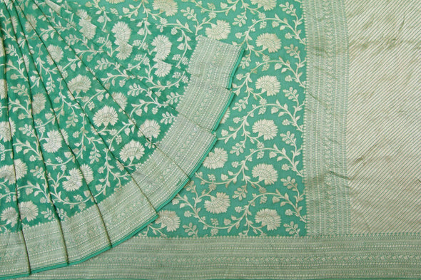 Fern Green Banarasi Georgette Saree With Floral Jaal.