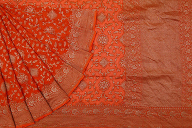Deep Orange Banarasi Georgette Saree With Floral Jaal.