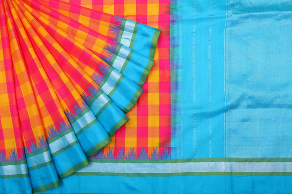 Hues of Pink And Yellow Checks Patterned Gadwal Handloom silk Saree