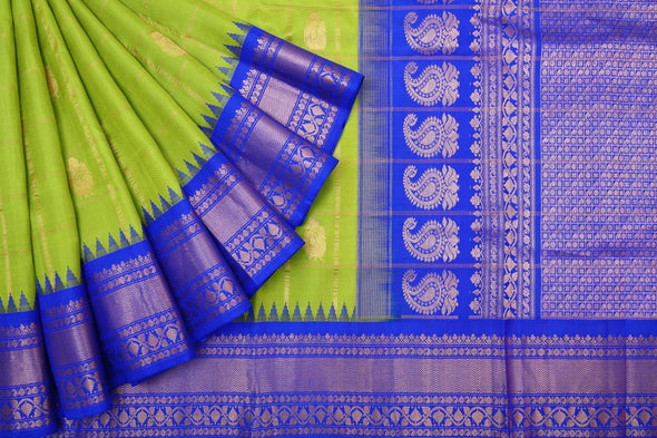 Lemon Lime Green Gadwal Handloom Silk Sare with Checks