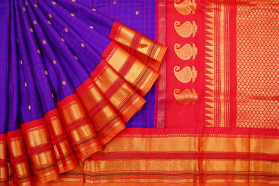 Blue Violet Gadwal Handloom Silk Saree with Checks