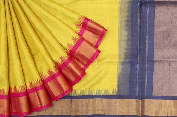 Lime Green Gadwal Silk Handloom Saree with Steel Blue Kuttu Border
