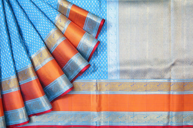 Vivid Blue Kanchipuram Silk Handloom Saree With Leaf Motifs