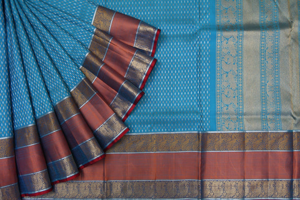 Deep Sky Blue Kanchipuram Silk Handloom Saree with Leaves