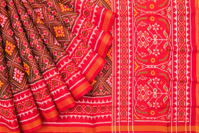 Deep Red Patan Patola Handloom Silk Saree