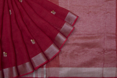 Berry Red Linen Floral Embroidery Handloom Saree