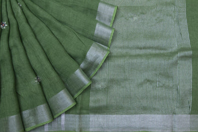 Leaf Green Linen Floral Embroidery Handloom Saree