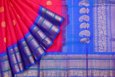 Bright Berry Pink Gadwal Handloom Silk Saree with Vivid Blue Kuttu Border