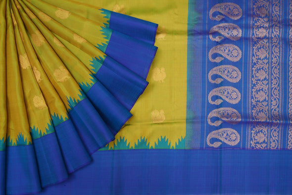 Dark Lime Green Gadwal Silk Handloom Saree with Peacocks