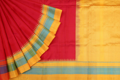 Berry Red Gadwal Silk Handloom Saree with Golden Yellow Kuttu Border
