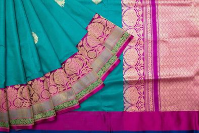 Teal Banarasi Silk Handloom Saree With Vintage Floral Motifs