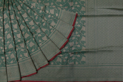 Emerald Green Banarasi Katan Silk Saree With Gold Zari Jaal