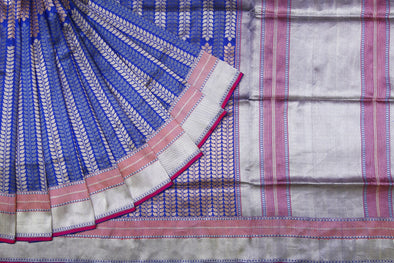 Cobalt Blue Banarasi Silk Handloom Saree with Straight Leafy Vines
