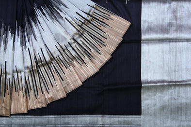 Jet Black Banarasi Tussar Silk Handloom Saree with Broad Gold and Silver Border