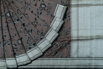 Dark Grey Banarasi Handloom Sree With Floral Jaal