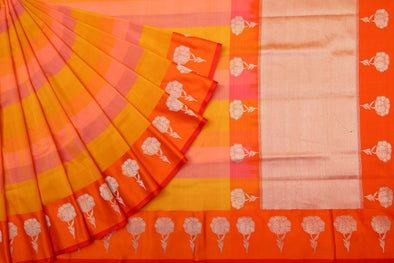 Hues Of Yellow And Orange Stripes Kora Banarasi Silk Handloom Saree