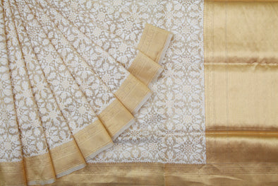 Gold Kora Banarasi Silk Handloom Saree with White Floral Jaal