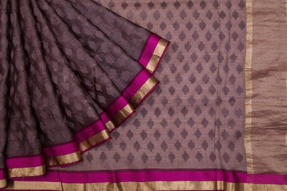 Vivid Brown Tussar Silk Handloom Saree With Geometric Motifs