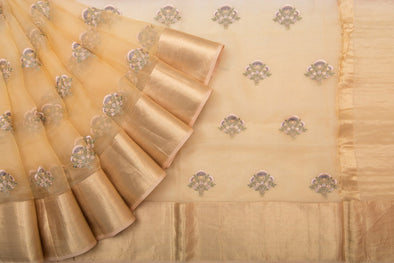 Shades of Pale Pink and Yellow Organza Embroidery Designer Saree