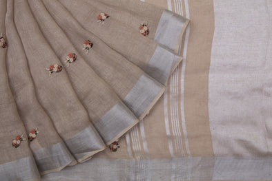 Light Khaki Brown Floral Embroidery Handloom Saree