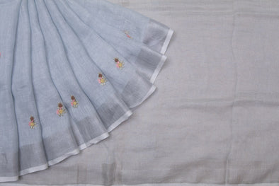 Pastel Blue Linen Floral Embroidery Handloom Saree