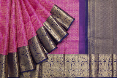 Vivid Pink Kanchipuram Silk Handloom Saree With Checks